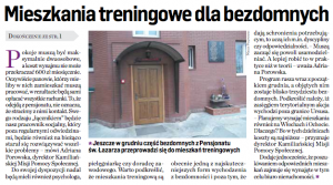 Mieszkania treningowe dla bezdomnych