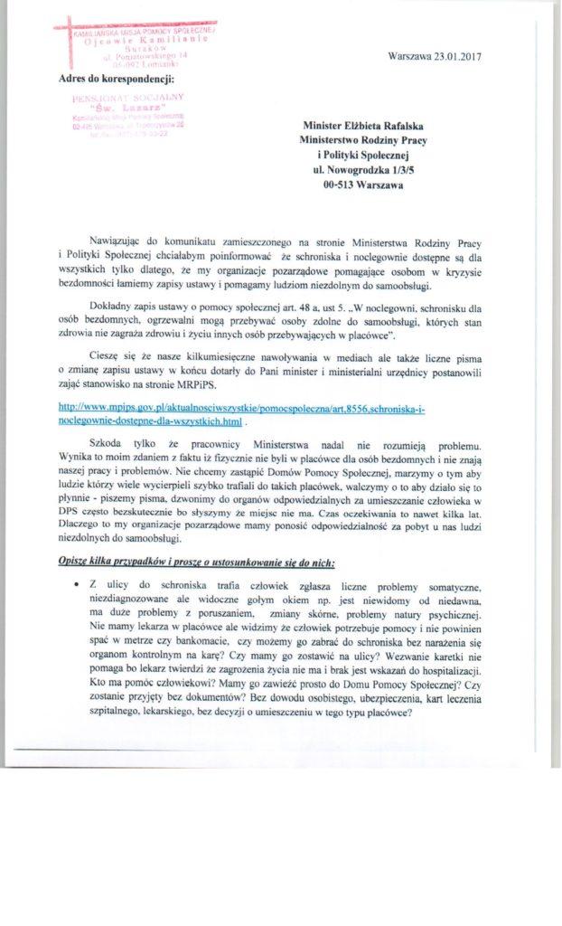 Pismo do Ministerstwa Rodziny Pracy i Pomocy Społecznej