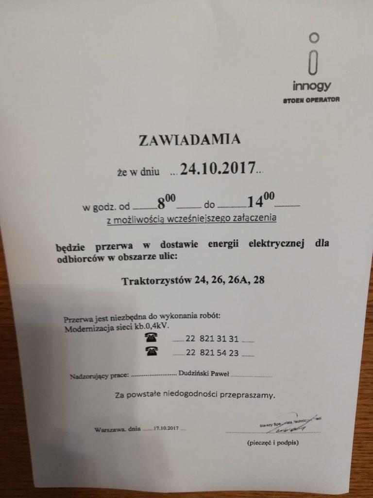 Brak prądu 24.10.2017 (wtorek)