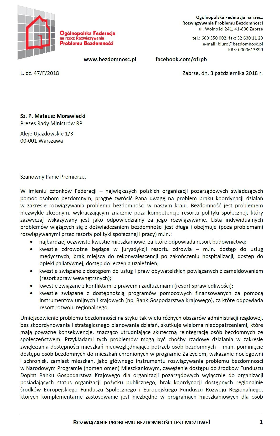 Apel do Premiera Mateusza Morawieckiego.